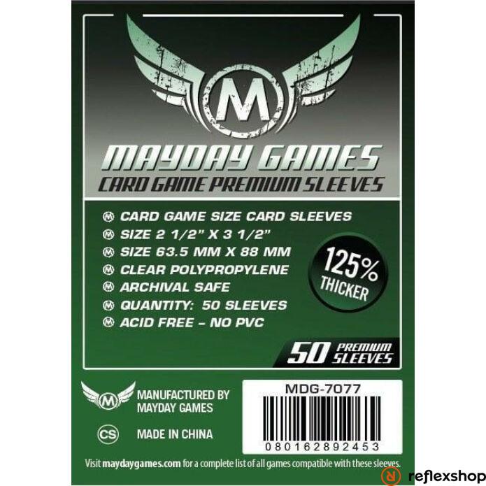 Mayday Games Premium kártyavédő kártyajátékokhoz (50 db-os csomag) 63.5 x 88 mm