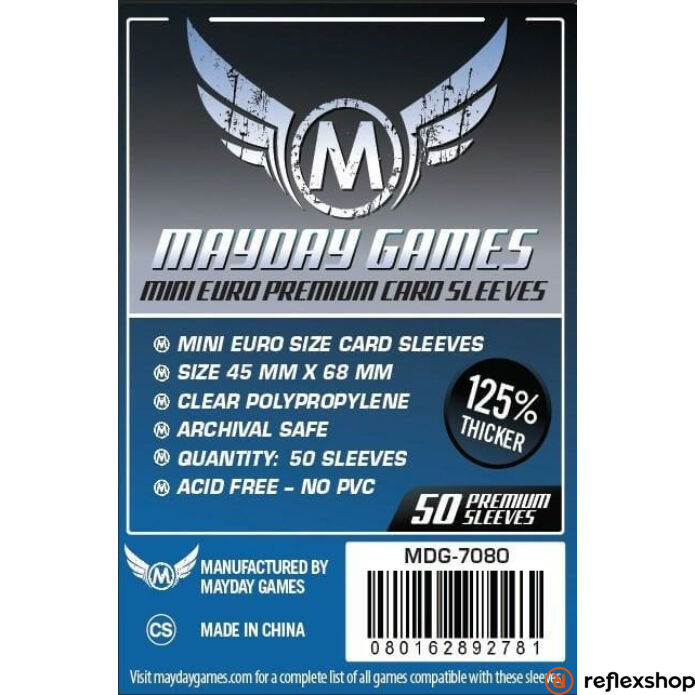 Mayday Games Premium Mini Euro kártyavédő (50 db-os csomag) 45 x 68 mm