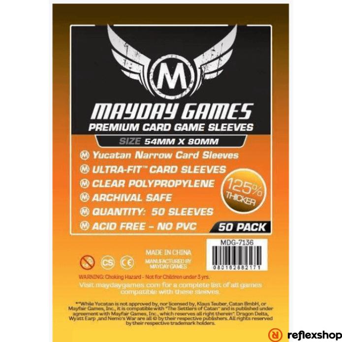 Mayday Games Prémium Yucatan keskeny kártyavédő (50 db-os csomag) 54 x 80 mm