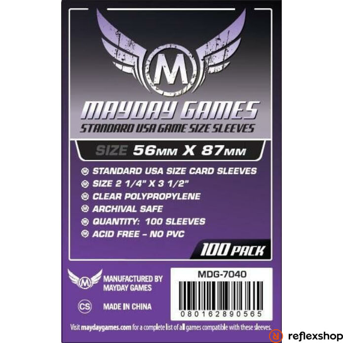 Mayday Games Standard USA méretű kártyavédő 56 mm x 87 mm (100 db-os csomag)