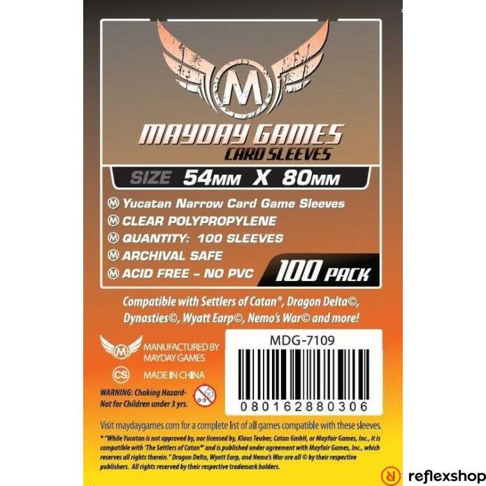 Mayday Games Yucatan keskeny kártyajáték kártyavédő (100 db-os csomag) 54 x 80 mm