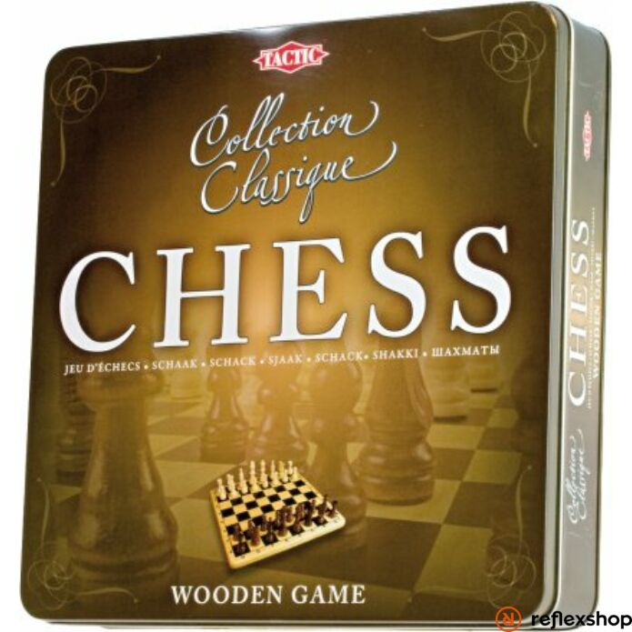 Klasszikus fa sakk fém dobozban