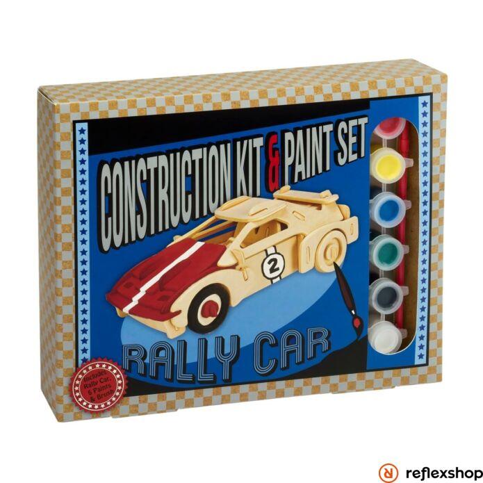 Rally autó Professor Puzzle fa épít? szett festékkel