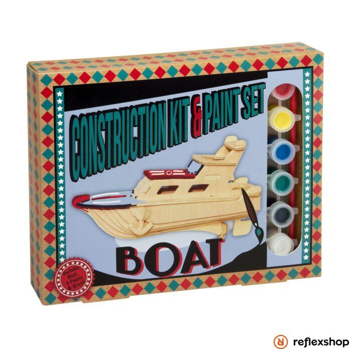 Hajó Professor Puzzle fa épít? szett festékkel
