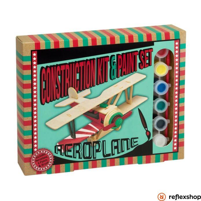 Repül?gép Professor Puzzle fa épít? szett festékkel