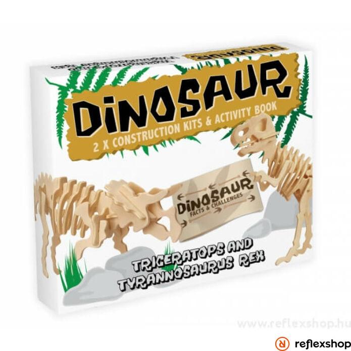 Triceratops & T-Rex Professor Puzzle fa épít? szett 2db-os